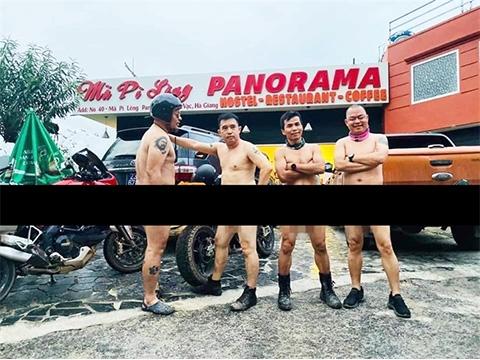 Nhóm đàn ông khỏa thân lái xe ở Mã Pì Lèng liệu có bị phạt?