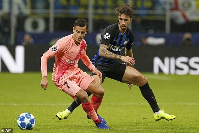 Coutinho chơi nhạt nhòa và bị hàng thủ Inter Milan kèm rất chặt