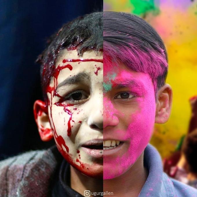 <p>  Cậu bé bên phải có thể vui vì được tạt bột màu lên mặt, nhưng còn cậu bé bên trái, máu và nước mắt là những gì hiện rõ trên gương mặt đầy sợ hãi.</p>