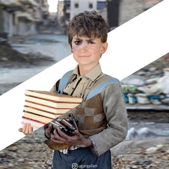 <p>  Thay vì cầm sách vở, trên tay những đứa trẻ ở thế giới kia đang đi lượm lặt vỏ đạn sau mỗi cuộc chiến.</p>
