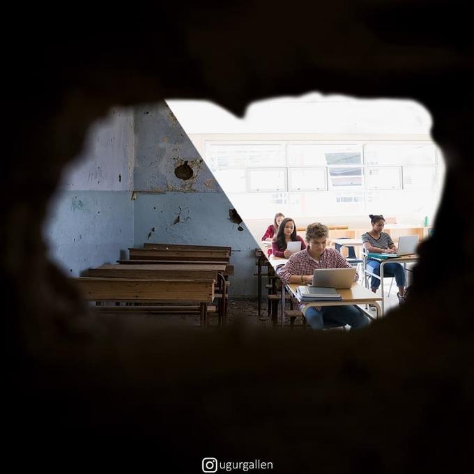 <p>  Không có những lớp học khang trang, cơ sở vật chất tiện nghi, những căn phòng học xập xệ, những chiếc bàn ghế cũ nát và cả những bức tường nứt toác vì bom đạn là nơi nhiều học sinh đang học.</p>